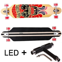 FunTomia® Longboard Skateboard Board Skaten Cruiser Komplettboard mit Mach1® High Speed Kugellager T-Tool (Modell Freerider - Farbe Route66 mit LED Rollen + T-Tool) -