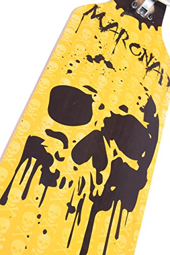 [Maronad.GCP]® Longboard Skateboard drop through Race Cruiser ABEC-11 Skateboard 104x24cm Streetsurfer skaten SKULL -