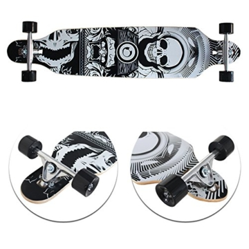 "VINGO®41"" ABEC 7 Long board Skateboard Freestyle Totenkopf Drop Through Board Longboard Retro Old Skate Board -"