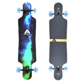 Apollo Longboard Galaxy Special Edition Komplettboard mit High Speed ABEC Kugellagern, Drop Through Freeride Skaten Cruiser Boards Farbe: Sternennebel / Grün -