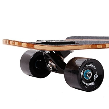 FunTomia Longboard aus Bambus und Fiberglas in 3 Flexstufen - Drop Through Komplettboard mit Mach1 ABEC-11 High Speed Kugellager + T-Tool (Flex 1: 25 bis 110kg - Bambus/Fiberglas - Design: Hawaii) -