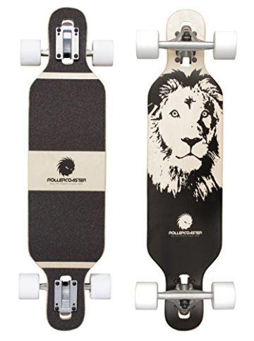 Longboard Drop Through Cruiser für Kinder - Longboard für Anfänger - Komplettboard - ROLLERCOASTER - LION -