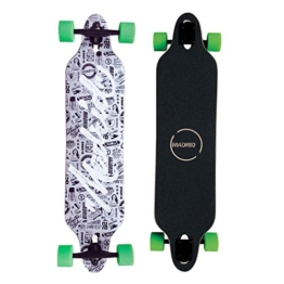 "Madrid Twin-Tip Longboard, Drop-Through, Tombstone Script 38.38"" (97,47 cm), Komplettboard Freeride Cruiser Board -"